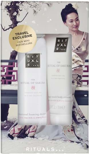 Rituals Sakura Mini Travel Set cont.: foaming shower gel 50 ml + body cream 70 ml