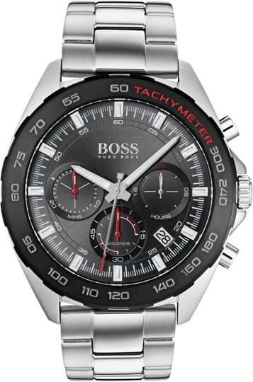 HUGO BOSS INTENSITY MEN WATCH, ROUND CASE SHAPE, 45,91MM, STAINLESS STEEL CASE, GREY DIAL, STAINLESS STEEL STRAP/BRACELET, 5A WATER RESISTANT, QTZ CHRONO MOVMENT