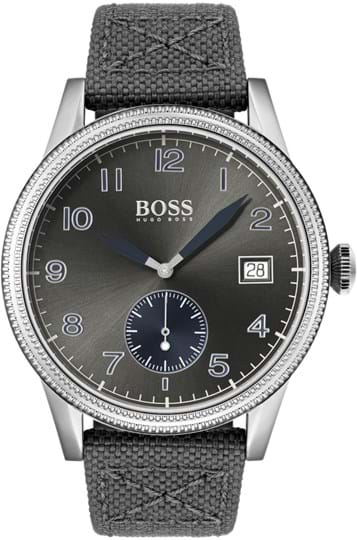 HUGO BOSS LEGACY MEN WATCH, ROUND CASE SHAPE, 44MM, STAINLESS STEEL CASE, GREY DIAL, GREY CANVAS & BLUE LEATHER STRAP/BRACELET, 5A WATER RESISTANT, QTZ MOVMENT