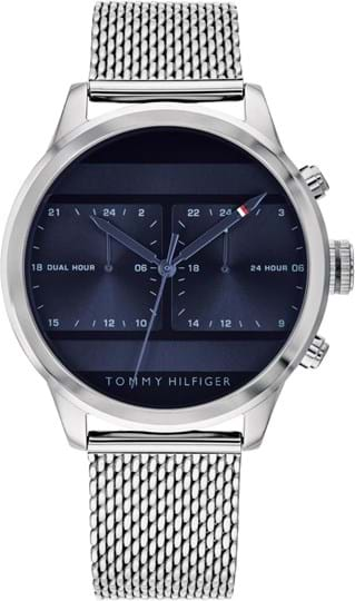 TOMMY HILFIGER ICON MEN WATCH, ROUND CASE SHAPE, 44MM, STAINLESS STEEL CASE, BLUE DIAL, STAINLESS STEEL STRAP/BRACELET, 5A WATER RESISTANT, QTZ MOVMENT