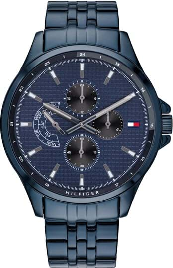 TOMMY HILFIGER SHAWN MEN WATCH, ROUND CASE SHAPE, 46,3MM, IONIC PLATED BLUE STEEL CASE, BLUE DIAL, IONIC PLATED BLUE STEEL STRAP/BRACELET, 5A WATER RESISTANT, QTZ MULTIFUNCTION MOVMENT