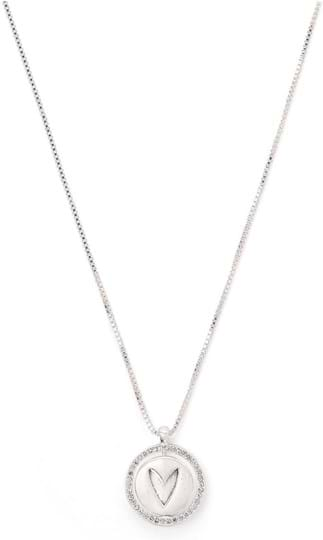 """Pilgrim Necklace """"Travel retail LOVE"""", ref.: 821916041, trade line: Travel retail, colour: silver plated, material:40% brass, 4% crystal, 2% plating, 54% zinc"""