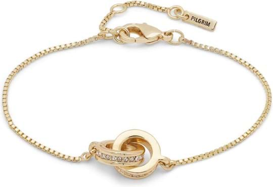 "Pilgrim Bracelet ""Junia"", ref.: 861912012, trade line: Travel retail, colour: gold plated, material:40% brass, 3% crystal, 2% plating, 55% zinc"