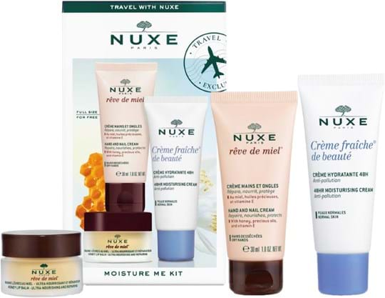 Nuxe Skincare Set Moisture Me Kit Set cont.: Crème fraîche de beauté Moisturising Cream 30 ml + Rêve de Miel Ultra-nourishing Lip Balm 15 g + Rêve de Miel Hand and Nail Cream 30 ml (for free)