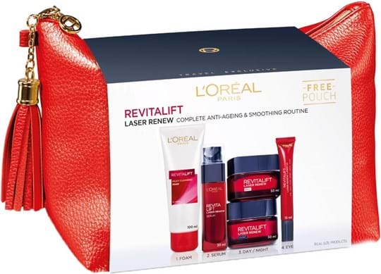 L'Oréal Paris Revitalift Classic Bag Set cont.: Day Cream 50 ml + Night Cream 50 ml + Milky Cleansing Foam 100 ml + Serum 30 ml + Eye Cream 15 ml