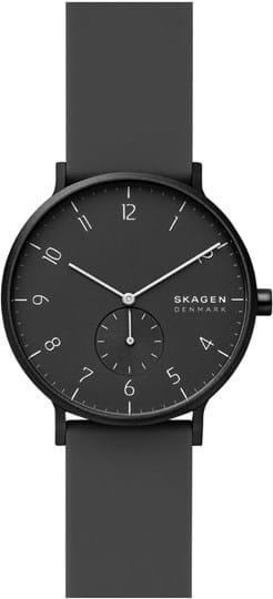 Skagen Aaren Mens watch, case: aluminium, black, 41mm, strap colour: black, strap material: silicone, dial: black, movement: quartz, 3 ATM