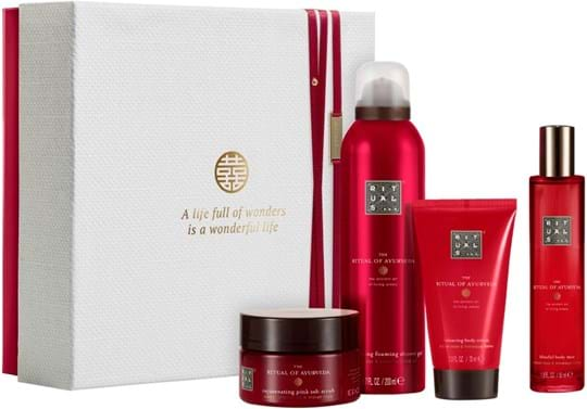 Rituals Ayurveda Set cont.: Body Scrub 125 g + Body Cream 70 ml (GH:1372416) + Foaming Shower Gel 200 ml (GH:1372417) + Hair and Body Mist 50 ml (GH:1379227)