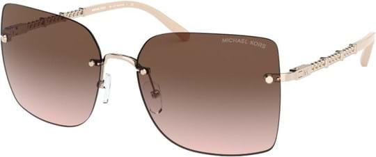 Michael Kors Modern Glamour Women's sunglasses with a frame made of metal in rose gold and lenses made of plastic in brown