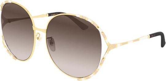 Gucci Women's sunglasses with a frame made of metal in gold and lenses made of plastic in brown