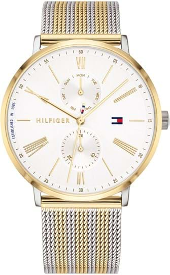 TOMMY HILFIGER JENNA WOMEN WATCH, ROUND CASE SHAPE, 38MM, TWO TONE STAINLESS STEEL CASE, WHITE DIAL, TWO TONE STAINLESS STEEL STRAP/BRACELET, 3A WATER RESISTANT, QTZ MULTIFUNCTION MOVMENT