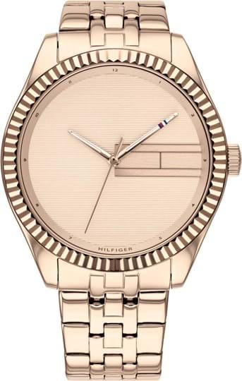 TOMMY HILFIGER LEE WOMEN WATCH, ROUND CASE SHAPE, 38MM, IONIC PLATED CARNATION GOLD STEEL CASE, LIGHT ROSE GOLD DIAL, IONIC PLATED CARNATION GOLD STEEL STRAP/BRACELET, 3A WATER RESISTANT, QTZ MOVMENT