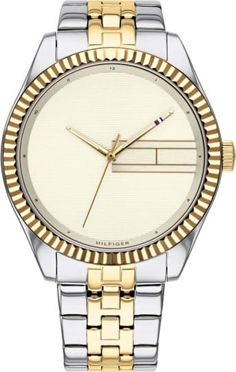 TOMMY HILFIGER LEE WOMEN WATCH, ROUND CASE SHAPE, 38MM, TWO TONE STAINLESS STEEL CASE, CHAMPAGNE DIAL, TWO TONE STAINLESS STEEL STRAP/BRACELET, 3A WATER RESISTANT, QTZ MOVMENT