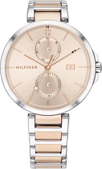 TOMMY HILFIGER ANGELA WOMEN WATCH, ROUND CASE SHAPE, 37,19MM, TWO TONE STAINLESS STEEL CASE, CARNATION GOLD DIAL, TWO TONE STAINLESS STEEL STRAP/BRACELET, 3A WATER RESISTANT, QTZ MULTIFUNCTION MOVMENT