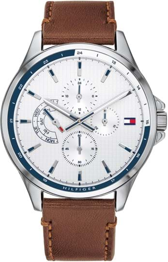 TOMMY HILFIGER SHAWN MEN WATCH, ROUND CASE SHAPE, 46,3MM, STAINLESS STEEL CASE, WHITE DIAL, BROWN LEATHER STRAP/BRACELET, 5A WATER RESISTANT, QTZ MULTIFUNCTION MOVMENT