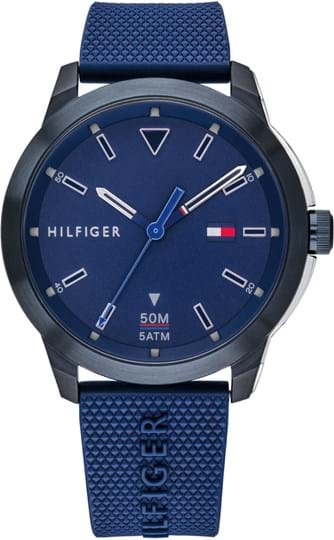 TOMMY HILFIGER SNEAKER MEN WATCH, ROUND CASE SHAPE, 45,3MM, STAINLESS STEEL & IONIC PLATED BLUE STEEL CASE, BLUE DIAL, BLUE SILICONE STRAP/BRACELET, 5A WATER RESISTANT, QTZ MOVMENT