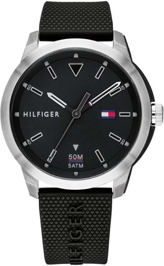 TOMMY HILFIGER SNEAKER MEN WATCH, ROUND CASE SHAPE, 45,3MM, STAINLESS STEEL & IONIC PLATED BLACK STEEL CASE, BLACK DIAL, BLACK SILICONE STRAP/BRACELET, 5A WATER RESISTANT, QTZ MOVMENT