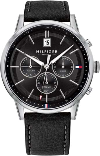 TOMMY HILFIGER KYLE MEN WATCH, ROUND CASE SHAPE, 44MM, STAINLESS STEEL CASE, BLACK DIAL, BLACK LEATHER STRAP/BRACELET, 5A WATER RESISTANT, QTZ MULTIFUNCTION MOVMENT
