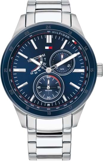 TOMMY HILFIGER AUSTIN MEN WATCH, ROUND CASE SHAPE, 44MM, STAINLESS STEEL CASE, BLUE DIAL, STAINLESS STEEL STRAP/BRACELET, 5A WATER RESISTANT, QTZ MULTIFUNCTION MOVMENT