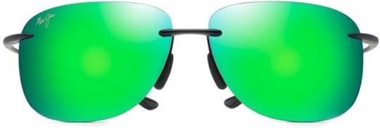 Maui Jim Unisex Sunglasses with a frame made of nylon in black and lenses made of plastic in green