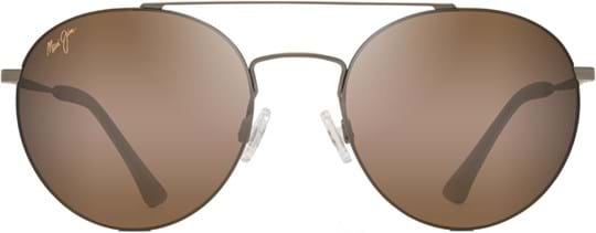 Maui Jim Unisex Sunglasses with a frame made of metal in gold and lenses made of plastic in brown