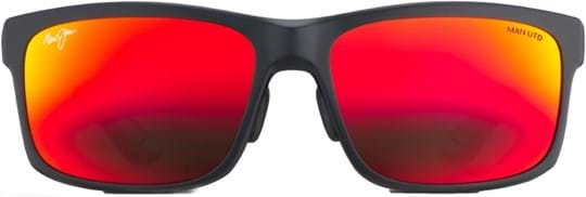 Maui Jim Men's Sunglasses with a frame made of nylon in black and lenses made of plastic in red