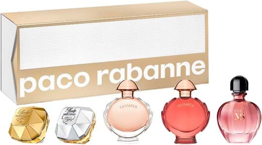 Paco Rabanne Corporate Coffret cont.: Lady Million Edp 5 ml + Lady Million Lucky 5 ml + Olympea 6 ml + Olympea Legend 6 ml + Pure Xs For Her Edt 6 ml