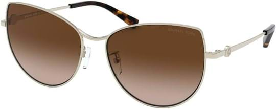 Michael Kors Sport-Luxe Chic Women's Sunglasses with a frame made of metal in gold and lenses made of plastic in brown gradient