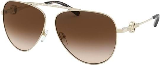 Michael Kors Modern Glamour Women's Sunglasses with a frame made of metal in gold and lenses made of plastic in grey gradient