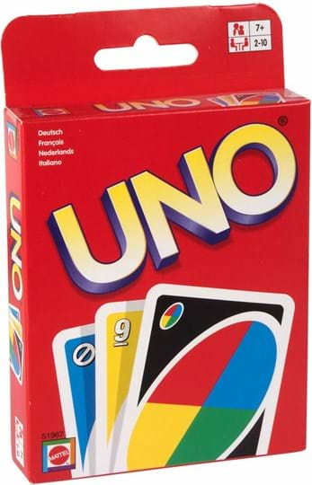 "Mattel Games UNO Game Display: Experience Fast Fun for Everyone! with UNO! Play by matching color or number, or play an action card against your opponent. When you're down to one card, don't forget to yell ""UNO!""108 cards and instructions. For 2 to 10 players. Languages: FR, DE, IT, NL."