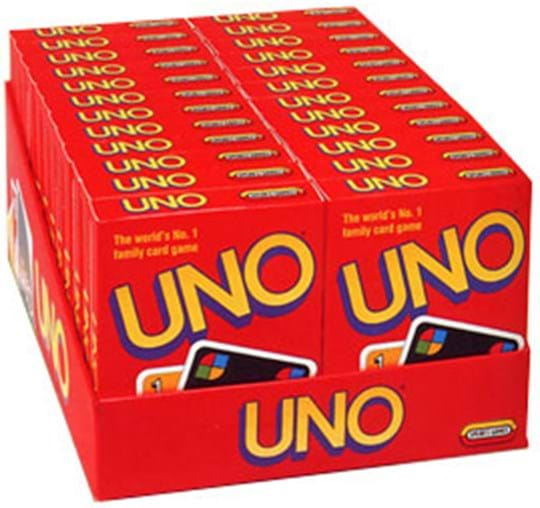 """Mattel Games UNO Game Display: Experience Fast Fun for Everyone! with UNO! Play by matching color or number, or play an action card against your opponent. When you're down to one card, don't forget to yell """"UNO!""""108 cards and instructions. For 2 to 10 players. Languages: FR, DE, IT, NL."""