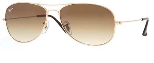 Ray Ban highstreet Men's sunglasses with a frame made of metal in gold and plastic lenses in brown gradient