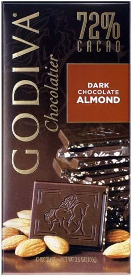Godiva Crunchy roasted almond pieces in rich dark chocolate made with 72% cacao