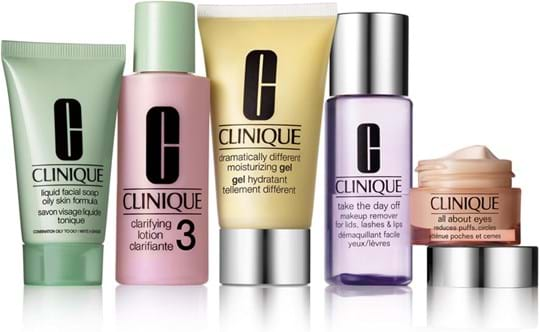 Clinique 3 Steps-System Skincare Daily Essentials Set (normal/oily) cont.: Liquid Facial Soap Oily Skin Formula 30ml, New Clarifying Lotion 3 60ml, Dramatically Different Moisturizing Gel (GH 749339) 50ml, Take the Day Off Makeup Remover 50ml, All About Eyes 15ml (GH 71348)