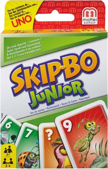 Mattel Games SKIP-BO Junior Card Game The ultimate sequencing card game from the makers of UNO now comes with simplified game play and appealing, kid-themed graphics.