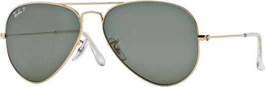 Ray Ban Icons Men's Sunglasses with a frame made of metal in gold and crystal lenses in green polarized