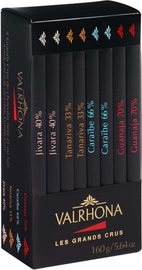 Valrhona Assorted box of 8 Grand Crus mini Bars 160g