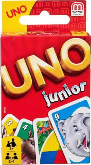Mattel Games Display for UNO Junior, a fun, fast-paced game children will love. All the fun of classic UNO with simpler rules.© Mattel, Inc. All Rights Reserved.