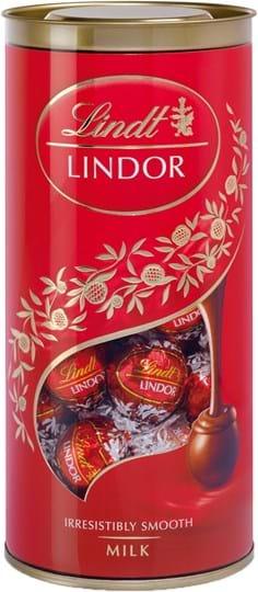 Lindt Lindor-mælkechokoladekugler i rør 400g