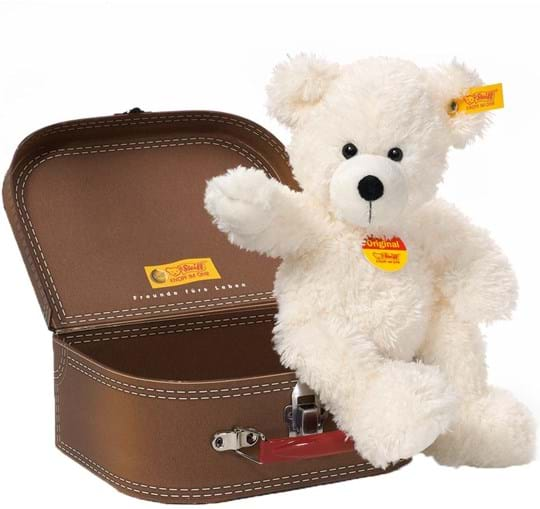 Steiff Teddybear Lotte in suitcase, white, 28cm, washable