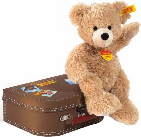 Steiff Teddybear Fynn in suitcase, beige, 28cm, washable